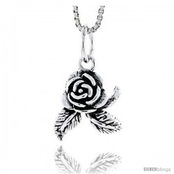 Sterling Silver Rose Pendant, 1/2 in tall -Style Pa1757