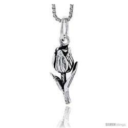 Sterling Silver Rose Pendant, 3/4 in tall -Style Pa1758