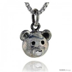 Sterling Silver Bear Pendant, 1/2 in tall