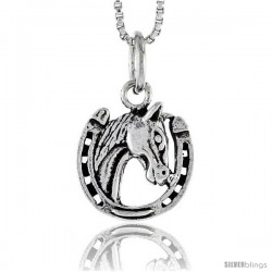 Sterling Silver Horseshoe w/ Horse Head Pendant, 1/2 in tall
