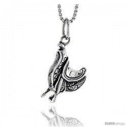 Sterling Silver Horse Saddle Pendant, 3/4 in tall