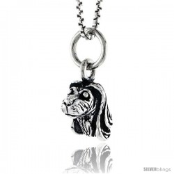 Sterling Silver Spaniel Dog Head Pendant, 3/8 in tall