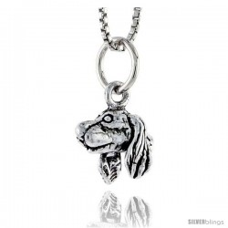 Sterling Silver Spaniel Dog Head Pendant, 3/8 in tall -Style Pa1768