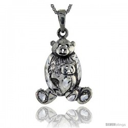 Sterling Silver Mommy Bear and Cub Pendant, 1 3/8 in tall