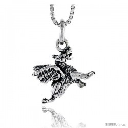 Sterling Silver Winged Dragon Pendant, 1/2 in tall