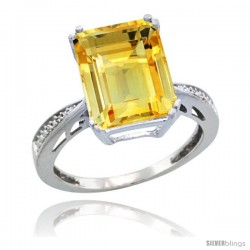Sterling Silver Diamond Natural Citrine Ring 5.83 ct Emerald Shape 12x10 Stone 1/2 in wide -Style Cwg09149