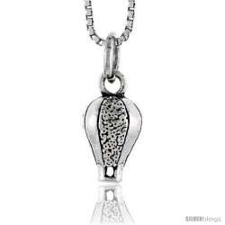 Sterling Silver Hot Air Balloon Pendant, 1/2 in tall