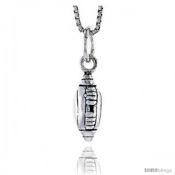 Sterling Silver Football Pendant, 1/2 in tall