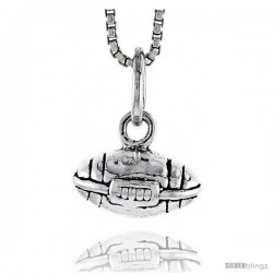 Sterling Silver Football Pendant, 1/4 in tall