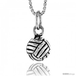 Sterling Silver Volleyball Pendant, 5/16 in tall