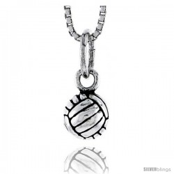 Sterling Silver Volleyball Pendant, 1/4 in tall