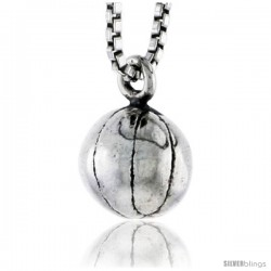 Sterling Silver Basketball Pendant, 5/16 in tall