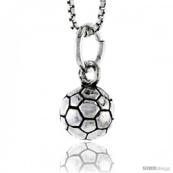 Sterling Silver Soccer Ball Pendant, 5/16 in tall