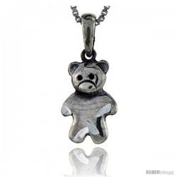 Sterling Silver Teddy Bear Pendant, 1 in tall