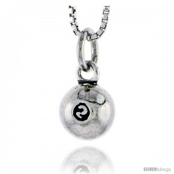 Sterling Silver Billiard Ball No. 2 Pendant, 5/16 in tall