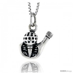 Sterling Silver Golf Ball Pendant, 1/2 in tall