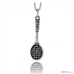 Sterling Silver Tennis Racket Pendant, 1 1/16 in tall