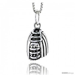 Sterling Silver Baseball Mitt Pendant, 5/8 in tall