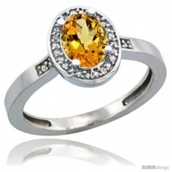 Sterling Silver Diamond Natural Citrine Ring 1 ct 7x5 Stone 1/2 in wide