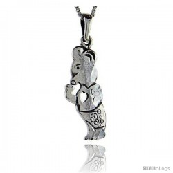 Sterling Silver Teddy Bear Pendant, 1 1/2 in tall