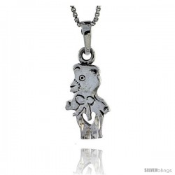 Sterling Silver Bear Pendant, 1 1/4 in tall