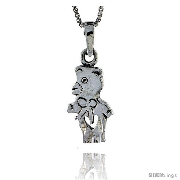 Sterling silver bear pendant 1 14 in tall silverblings undefined aloadofball Images