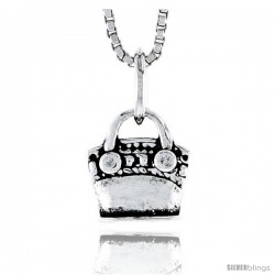 Sterling Silver Bag Pendant, 1/2 in tall -Style Pa1801