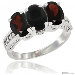 10K White Gold Natural Black Onyx & Garnet Sides Ring 3-Stone Oval 7x5 mm Diamond Accent