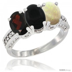 10K White Gold Natural Garnet, Black Onyx & Opal Ring 3-Stone Oval 7x5 mm Diamond Accent