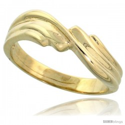"14k Gold Contemporary Whorl Ring, 3/16"" (5mm) wide"