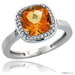 Sterling Silver Diamond Natural Citrine Ring 2.08 ct Checkerboard Cushion 8mm Stone 1/2.08 in wide