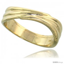 """14k Gold Contemporary Wavy Ring, 1/4"""" (6mm) wide"""