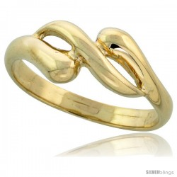 "14k Gold Contemporary Wave Ring, 5/16"" (8mm) wide"