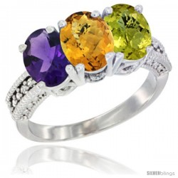 14K White Gold Natural Amethyst, Whisky Quartz & Lemon Quartz Ring 3-Stone 7x5 mm Oval Diamond Accent