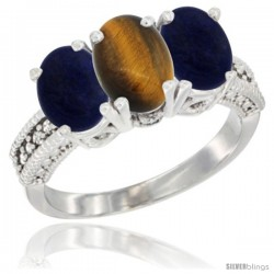 14K White Gold Natural Tiger Eye Ring with Lapis 3-Stone 7x5 mm Oval Diamond Accent