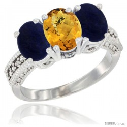 14K White Gold Natural Whisky Quartz Ring with Lapis 3-Stone 7x5 mm Oval Diamond Accent