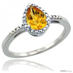 Sterling Silver Diamond Natural Citrine Ring 0.59 ct Tear Drop 7x5 Stone 3/8 in wide