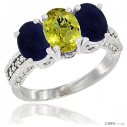 14K White Gold Natural Lemon Quartz Ring with Lapis 3-Stone 7x5 mm Oval Diamond Accent
