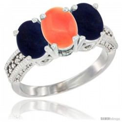 14K White Gold Natural Coral Ring with Lapis 3-Stone 7x5 mm Oval Diamond Accent