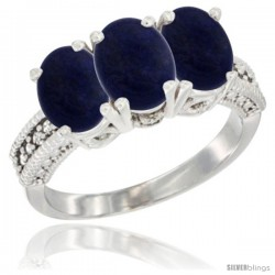 14K White Gold Natural Lapis Ring 3-Stone 7x5 mm Oval Diamond Accent