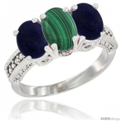 14K White Gold Natural Malachite Ring with Lapis 3-Stone 7x5 mm Oval Diamond Accent