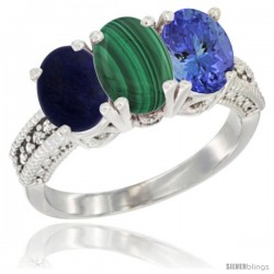 14K White Gold Natural Lapis, Malachite Ring with Tanzanite Ring 3-Stone 7x5 mm Oval Diamond Accent
