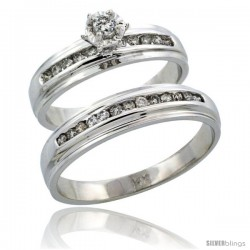 14k White Gold 2-Piece Diamond Ring Band Set w/ Rhodium Accent ( Engagement Ring & Man's Wedding Band ), w/ 0.40 Carat