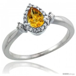 Sterling Silver Diamond Natural Citrine Ring 0.33 ct Tear Drop 6x4 Stone 3/8 in wide