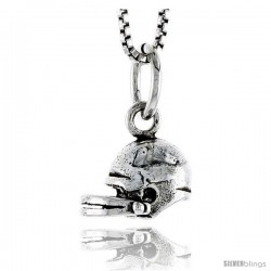 Sterling Silver Football Helmet Pendant, 5/16 in tall