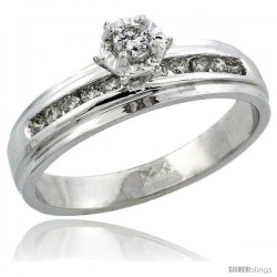 14k White Gold Diamond Engagement Ring w/ 0.20 Carat Brilliant Cut Diamonds, 3/16 in. (5mm) wide -Style 14w917er