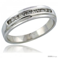 14k White Gold Ladies' Diamond Ring Band w/ 0.17 Carat Brilliant Cut Diamonds, 3/16 in. (5mm) wide