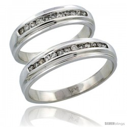 14k White Gold 2-Piece His (5mm) & Hers (5mm) Diamond Wedding Ring Band Set w/ 0.37 Carat Brilliant Cut Diamonds