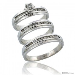 14k White Gold 3-Piece Trio His (5mm) & Hers (5mm) Diamond Wedding Ring Band Set w/ 0.57 Carat Brilliant Cut Diamonds