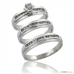 14k White Gold 3-Piece Trio His (5mm) & Hers (5mm) Diamond Wedding Ring Band Set w/ 0.57 Carat Brilliant Cut Diamonds